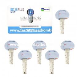 6 llaves + tarjeta de seguridad cilindro C-28 plus